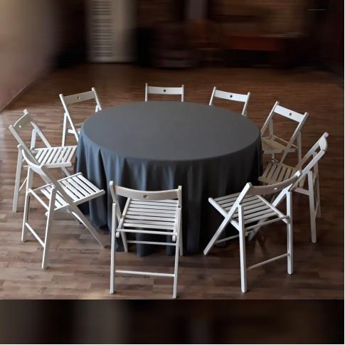 Apaļš banketa galds ar baltiem krēsliem | komplekts, 9 personām, 150 cm | noma