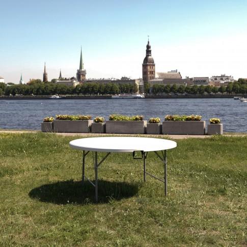 Apaļš saliekamais galds 8 personām | bez galdauta, 150 cm | noma